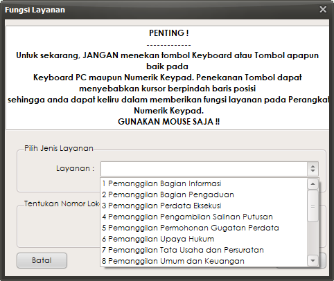 Penetapan fungsi layanan tombol Numerik Keypad