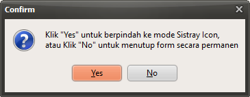 Konfirmasi meminimize program ke sistray