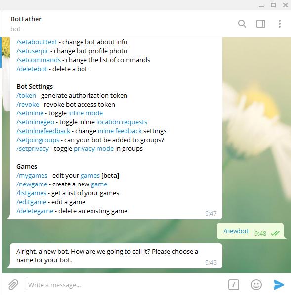Respon untuk NewBot