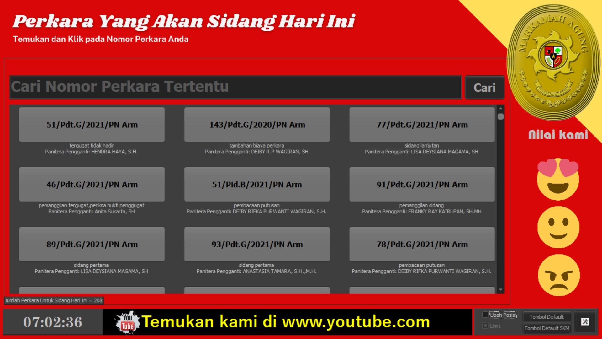 Layar Touchscreen Antrian Sidang